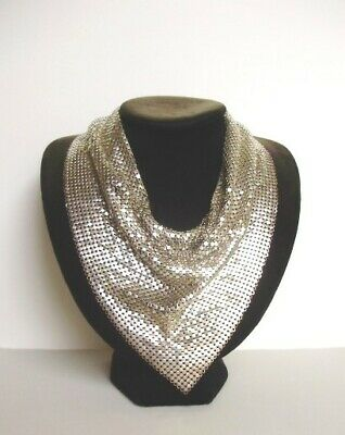 Beautiful Whiting & Davis Style Shiny Silver Tone Chain Mail Dickie-Womens'