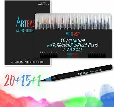 20 Watercolour Brush Pens & 15 Sheet Art Pad Set For Calligraphy Colouring ETC