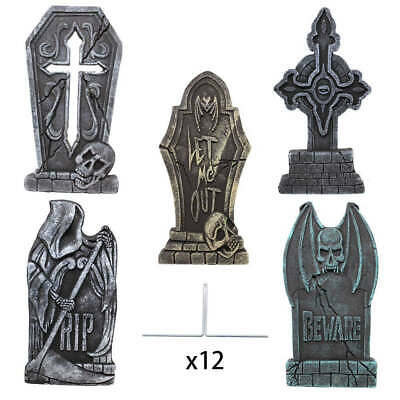 "5 Pack Graveyard Tombstones Headstone 17"" Scary for Halloween Yard Decorations"