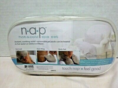 NAP Hot Cold Spa Set Brookstone 3 pc Eyes Neck Body Pad Gel Packs