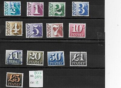 1970-75 GB Postage Due (To Pay)used full stamp set lot p19