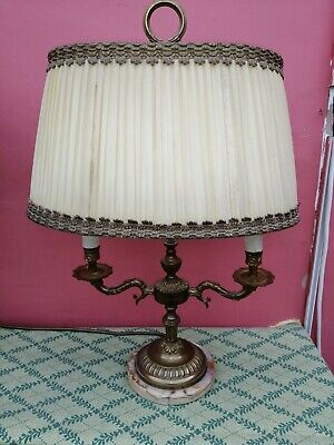 Antique French Brass And Gilt 2 Arm Candleabra Lamp With  Shade On Marble Base