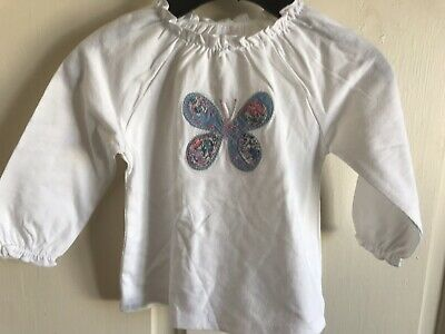 BNWOT Next White 'Butterfly' Top. Girls. Age 3 - 12 Months. Blue Pattern