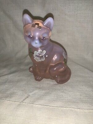 "Fenton  pink art Glass Cat Hand Painted Flowers signed by artist 3 1/2"" tall"