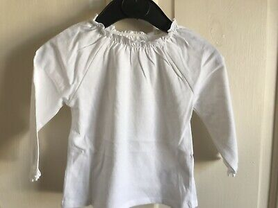 BNWOT Next White Long Sleeved Top. Girls. Age 6 - 18 Months. Elasticated