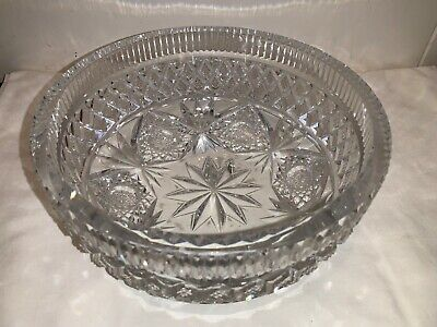 """Antique Hawkes 8"""" Crystal Cut Glass Bowl smooth upper edge on top GOOD"""