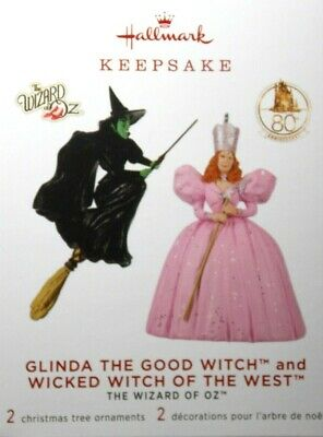 Glinda Good Witch and Wicked Witch West-2019 Hallmark Ornaments-Set of 2