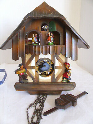 Vintage Musical Cuckoo Clock Dancers German For Parts or Repair