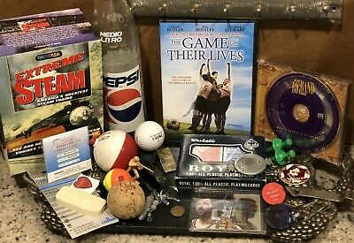 VINTAGE LOT JUNK DRAWER ITEMS: steam engines, fishing, wheat penny, drink token