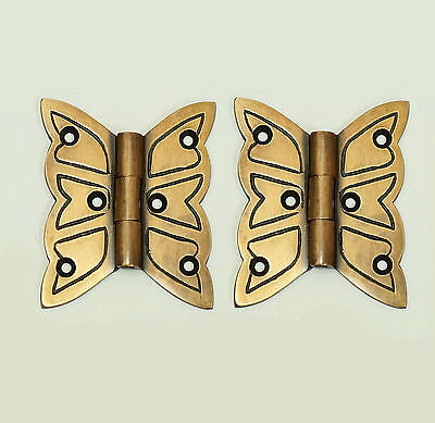 Set of 2 pcs Vintage Engraved BUTTERFLY Hinge Solid Brass Cabinet Door Hinges