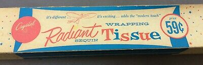 Vintage Christmas Sequin Radiant WRAPPING TISSUE Paper* Org Unused 59 cent Box