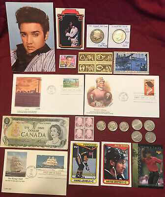Junk Drawer Lot: 1964 Kennedy Proof Silver Half Dollar, Cards Stamps Coins Elvis