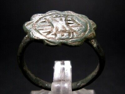 CHOICE ROMAN BRONZE RING with the ROMAN EAGLE IMAGE+++