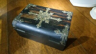 Victorian Antique Wood & Brass Bound Gothic box vintage t Revival Table Box