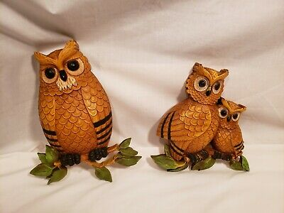 Vintage Owls on Branches Wall Hangings, Homco, Family of 3, Two Pieces