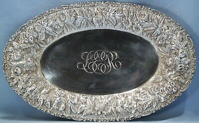 Baltimore Sterling Silver Co. Rose Repousse Oval Bread Tray Circa 1890s