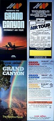 Lot of 5 1979-1980 Grand Canyon tour flyers from 3 different las vegas airlines