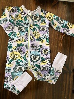 Baby Bonds Sold Out Purple Floral Print Zippy Wondersuit, Sz 18-24m, EUC