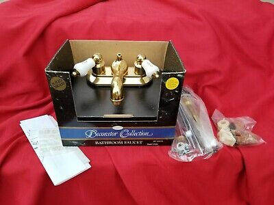 Vtg SISCO Decorator Collection Bathroom Faucet Solid Brass porcelain handles new