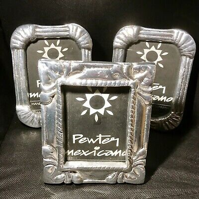 Set Of 3 Mexican Pewter Picture Frame Hand Made Scrolls Traditional Solid  4""