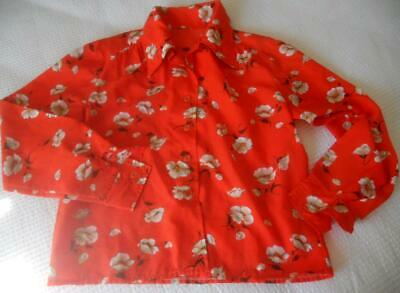 Vintage 1970'S Polyester Long Sleeve Blouse White Flowers On Red M To L