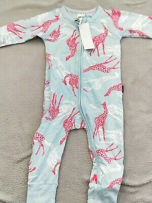 Bonds brand new wondersuit zip zippy blue with pink and white giraffes size 0