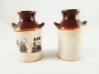 Ceramic Boston Souvenir Milk Can Salt & Pepper Shakers Set of 2