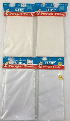 Purrfect Punch Embroidery Fabric White Natural Linen Color Remnants by Plaid