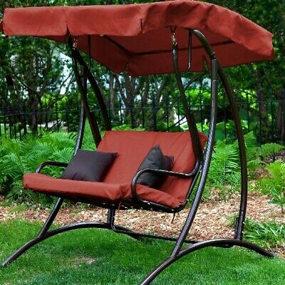 Brilliant 3 Seats Patio Canopy Swing Glider Hammock Cushioned Steel Ocoug Best Dining Table And Chair Ideas Images Ocougorg