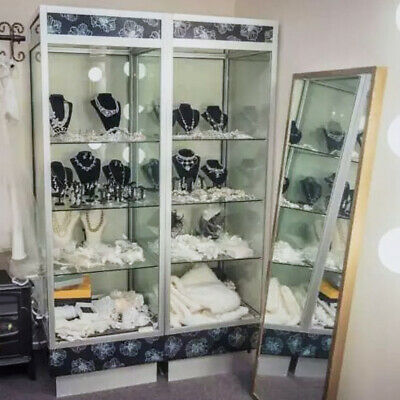 Glass Display Cabinet (2x) w/ Halogen Down Lights & Glass Shelves - Look Nice!