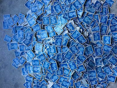 500 2nd class stamps  blue security type ,(seconds) off paper no gum/-:-