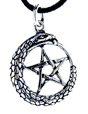 Pentagram 925 Silver Pendant Chain Protection Ring Amulet Magic Snake No. 48