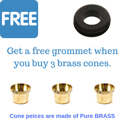 3 X Bonza Cup Cone Pieces - Brass Cone Piece - FREE GROMMET - Free Shipping