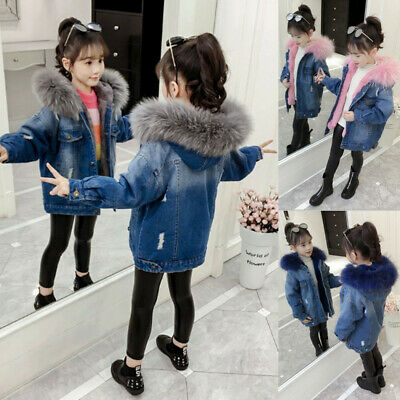 Kids Girls Winter Faux Fur Hooded Denim Jeans Hoodies Coat Jacket Parka Outwear
