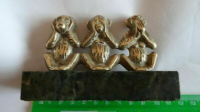 """""""The Three Wise Monkeys """"  Solid Brass On Marble Base (1 )"""