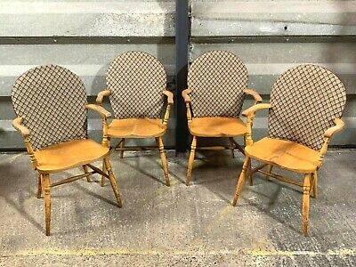 Set of four vintage elm stick back carver dining chairs with upholstered backs 4