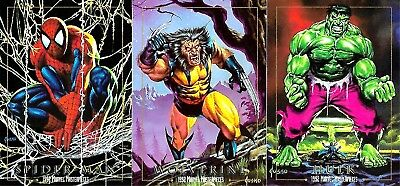 1992 MARVEL MASTERPIECES PROTOTYPE Set of 3 - Wolverine Hulk Spider-Man Promo