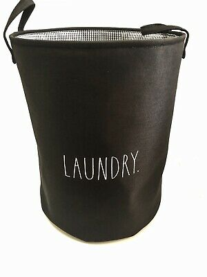 New Rae Dunn All Black Large Laundry Hamper White Letters Collapsible