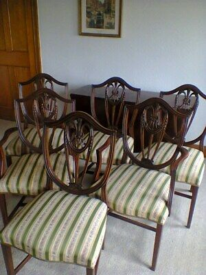 Hepplewhite style  chairs  Set of 6,   4 Dining Chairs & 2 Carvers,  Mahogany
