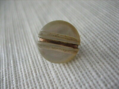 "Vintage Small 1/2 "" MOP Mother Of Pearl Shell Button, Brass Band, Shank - PD124"