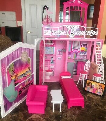 Barbie Glam Vacation Dollhouse Pink Foldable Mattel 2009 With Furniture