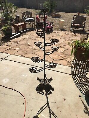 Antique Ornate Cast Iron Pot Plant Stand 10 Revolving Arms Victorian