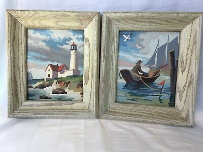 Vintage Paint By Number Paintings Framed Pair Lighthouse Seaside