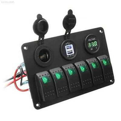 CD6D Toggle Switch Switch Panel 6 Gang Control Caravan Truck Boat Cars Dual USB