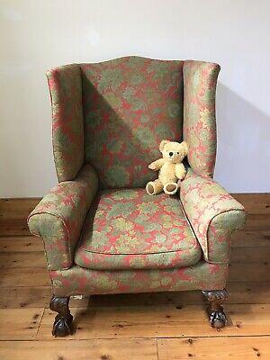 Antique Victorian Gothic Claw And Ball Foot Wingback Armchair. Much loved