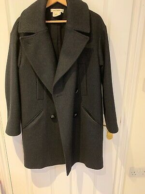 H/&M Premium Collection Navy Double Breasted Wool Coat Size S Uk 10 Bloggers Fav