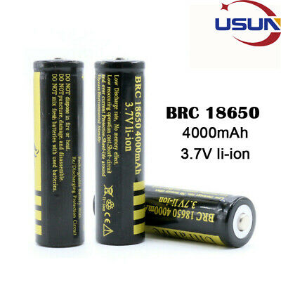 4Pcs 18650 Rechargeable Lithium Battery BRC Protected High Capacity Button Top