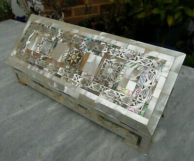 Antique Late 19th / Early 20th Century Mother of Pearl and Abalone Trinket Box