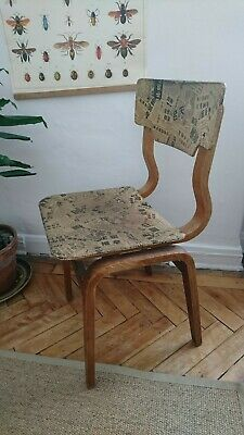 vintage wooden school chair stacking plywood upcycled mid century