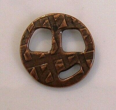 Clasp, TierraCast®, tribuckle, antique copper-plated pewter, 18.5mm round
